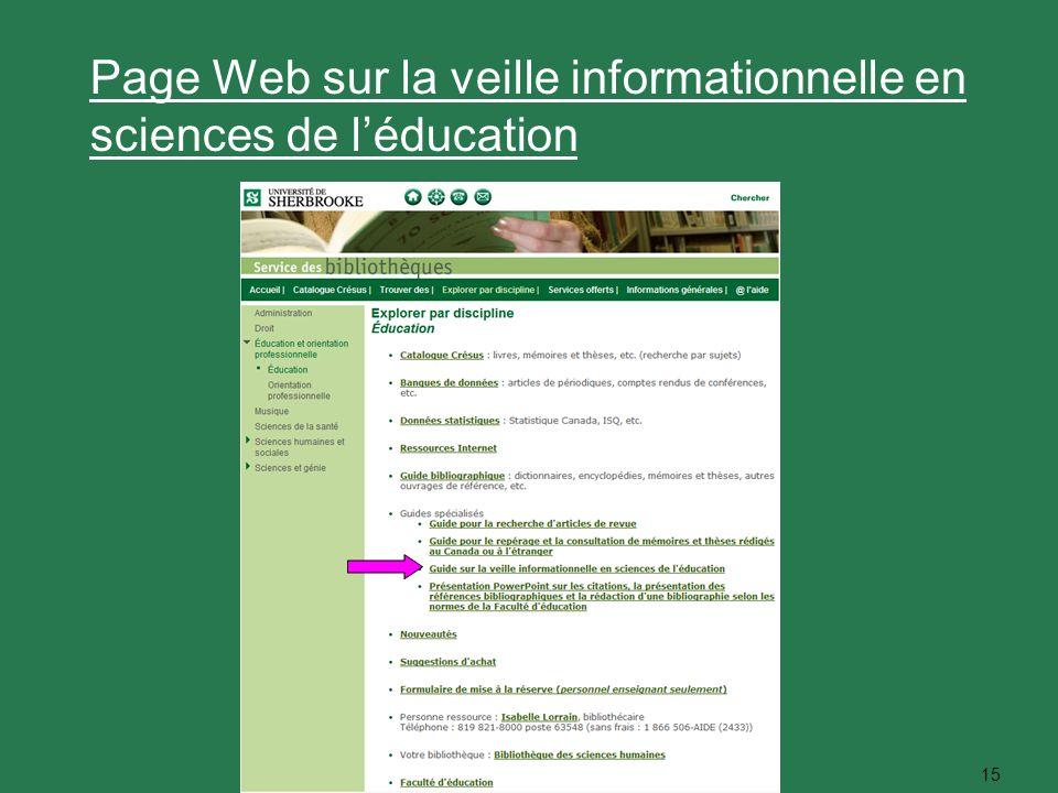 15 Page Web sur la veille informationnelle en sciences de léducation