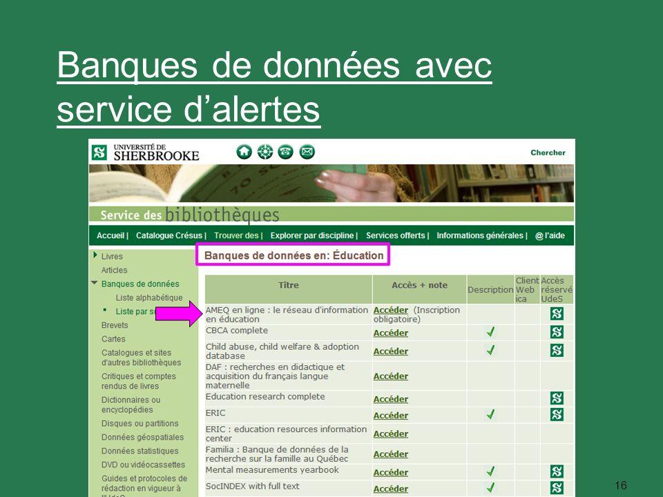 16 Banques de données avec service dalertes