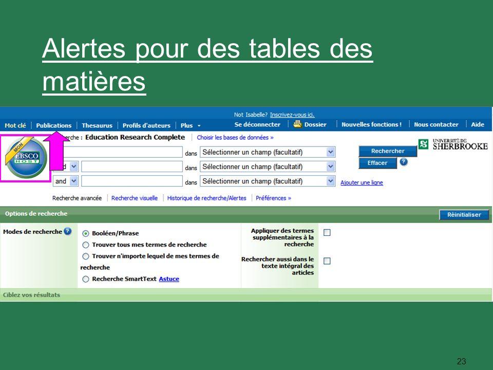 23 Alertes pour des tables des matières