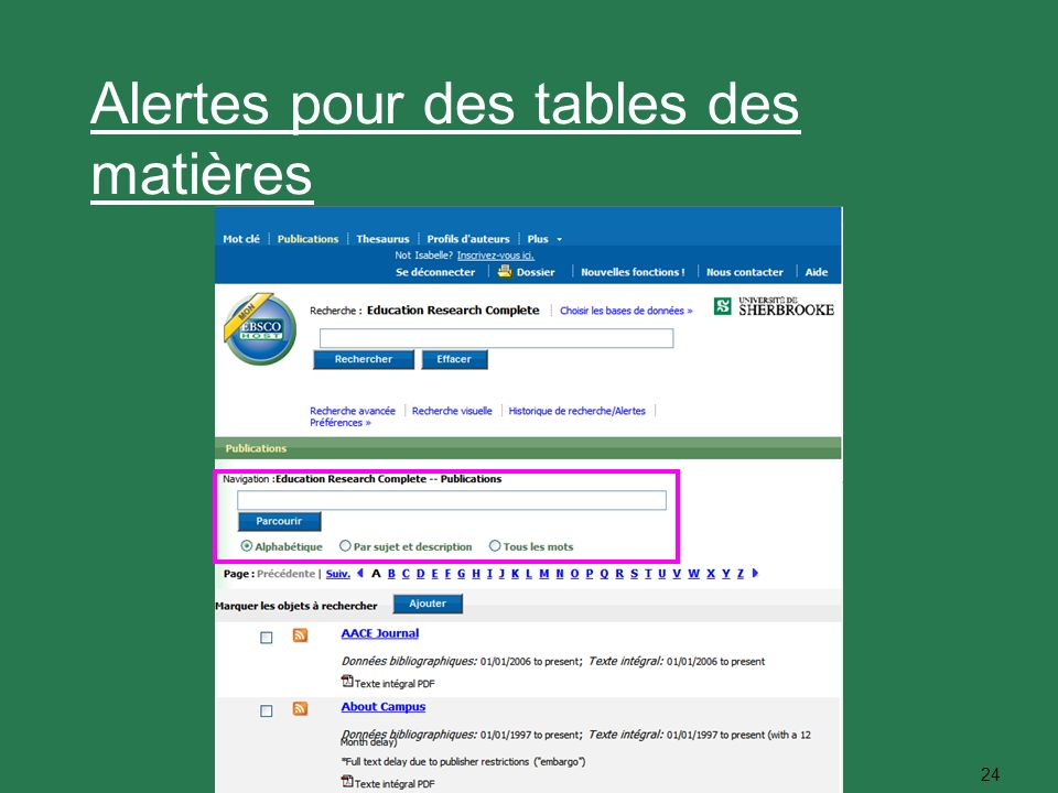 24 Alertes pour des tables des matières