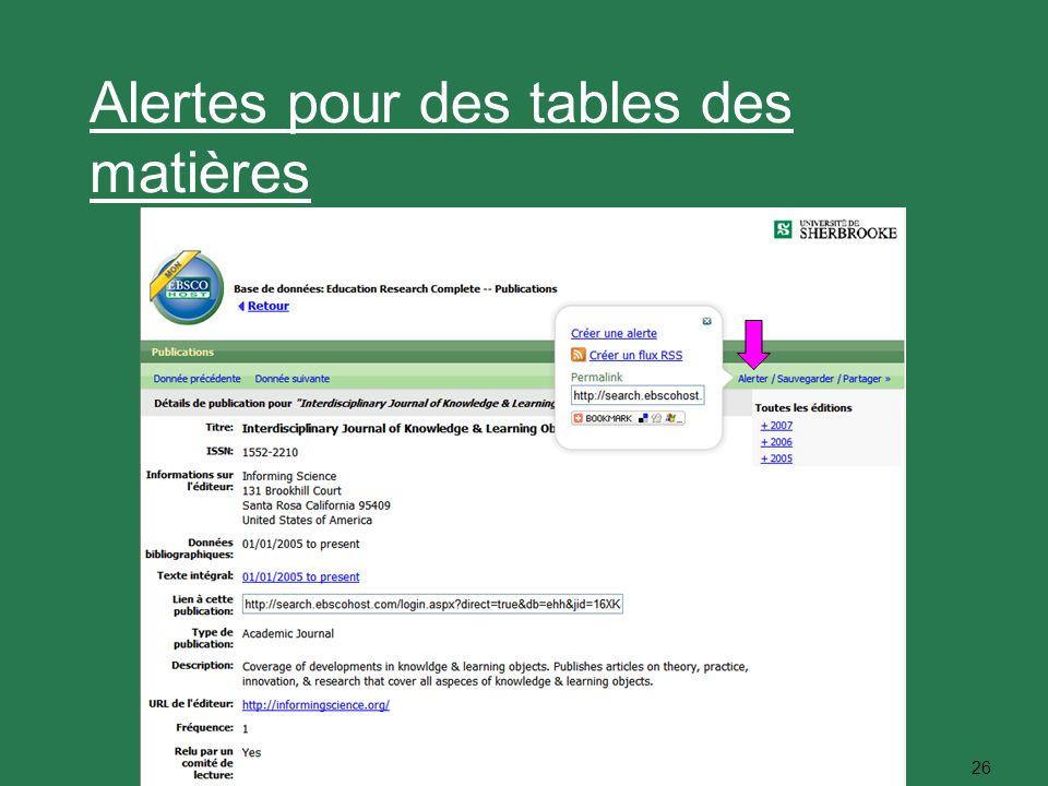 26 Alertes pour des tables des matières