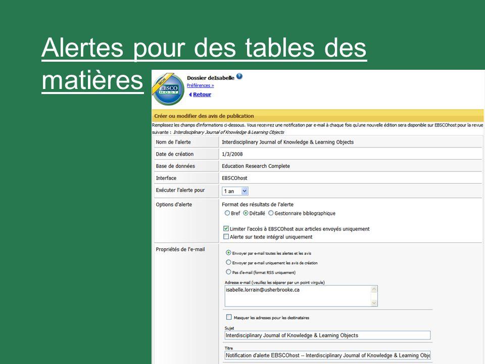 27 Alertes pour des tables des matières