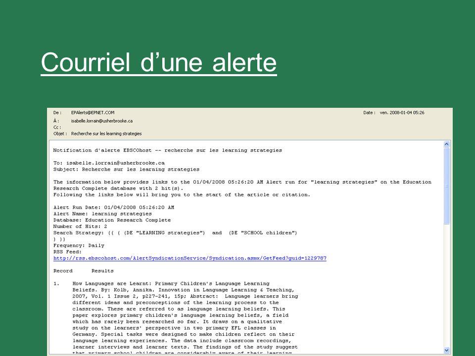 31 Courriel dune alerte
