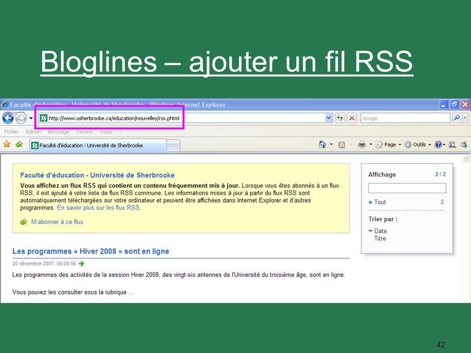 42 Bloglines – ajouter un fil RSS