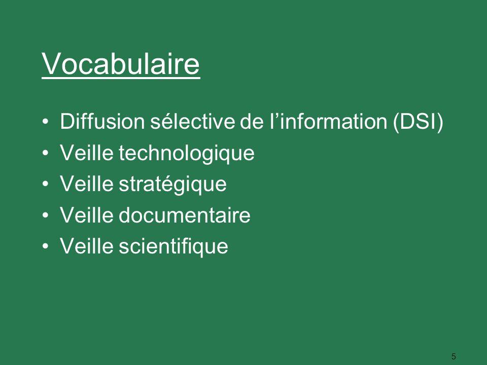 5 Vocabulaire Diffusion sélective de linformation (DSI) Veille technologique Veille stratégique Veille documentaire Veille scientifique