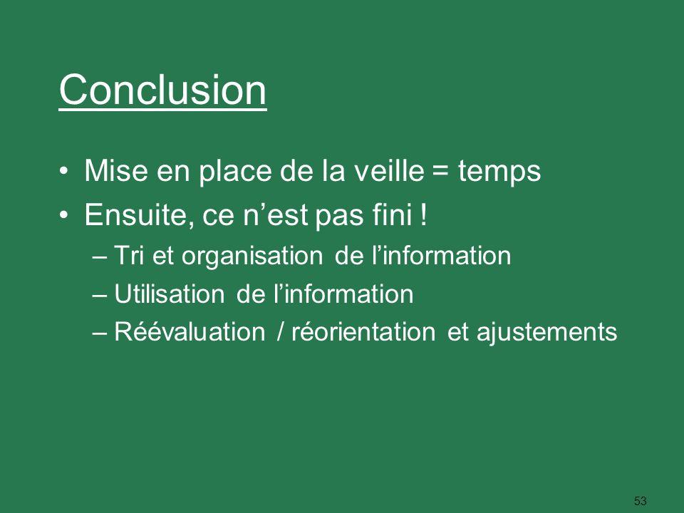 53 Conclusion Mise en place de la veille = temps Ensuite, ce nest pas fini ! –Tri et organisation de linformation –Utilisation de linformation –Rééval