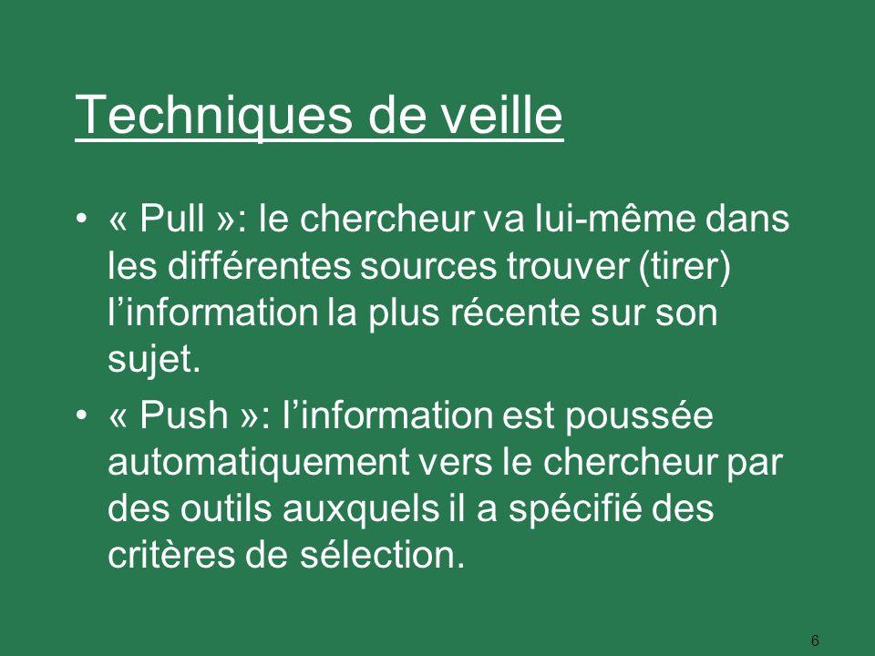 6 Techniques de veille « Pull »: le chercheur va lui-même dans les différentes sources trouver (tirer) linformation la plus récente sur son sujet. « P
