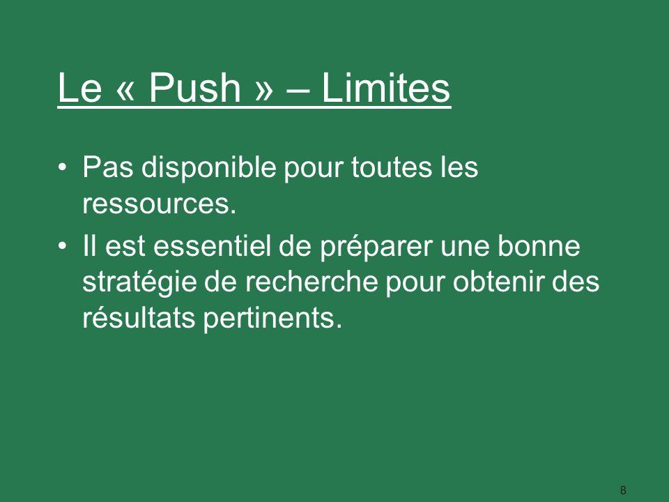 8 Le « Push » – Limites Pas disponible pour toutes les ressources. Il est essentiel de préparer une bonne stratégie de recherche pour obtenir des résu