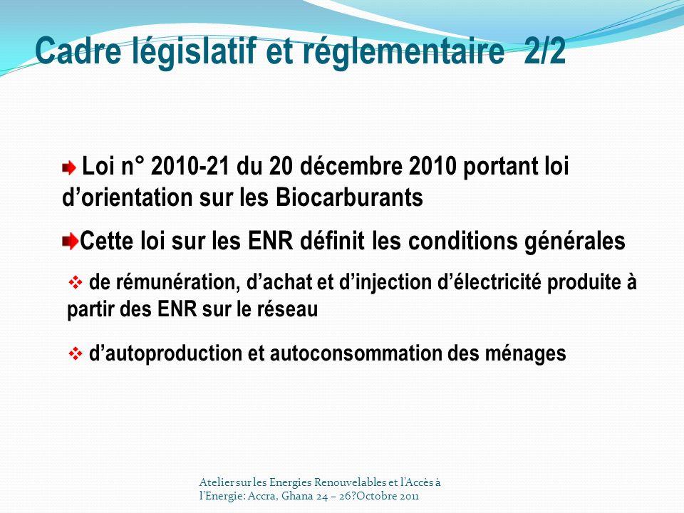 Cadre législatif et réglementaire 2/2 Loi n° 2010-21 du 20 décembre 2010 portant loi dorientation sur les Biocarburants Cette loi sur les ENR définit