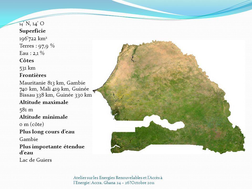 14 ' N, 14' O Superficie 196'722 km 2 Terres : 97,9 % Eau : 2,1 % Côtes 531 km Frontières Mauritanie 813 km, Gambie 740 km, Mali 419 km, Guinée Bissau