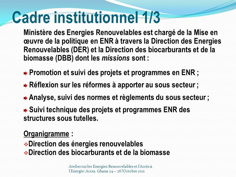 Cadre institutionnel 2/3 Comité Inter ministériel sur les Energies Renouvelables (CIER) dont le rôle est de faciliter la concertation et la mise en cohérence des activités conduites au sein des Ministère en charge de lénergie, et en charge des énergies renouvelables la loi n° 81-22 du 25 juin 1981 instituant des avantages fiscaux dans le domaine de l utilisation de l énergie solaire et éolienne; la circulaire primatoriale n° 10226/ PM/SGG/EC5 du 21 décembre 1978 relative à la prise en compte de la variante solaire dans les marchés publics de fourniture dénergie; Atelier sur les Energies Renouvelables et lAccès à lEnergie: Accra, Ghana 24 – 26?Octobre 2011