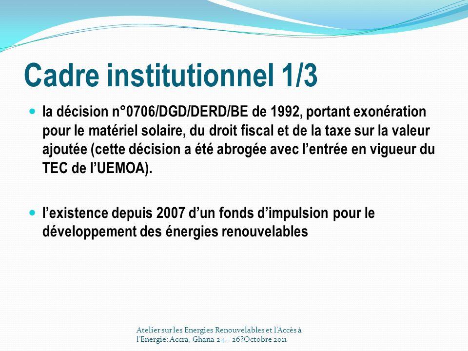 Cadre institutionnel 1/3 la décision n°0706/DGD/DERD/BE de 1992, portant exonération pour le matériel solaire, du droit fiscal et de la taxe sur la va