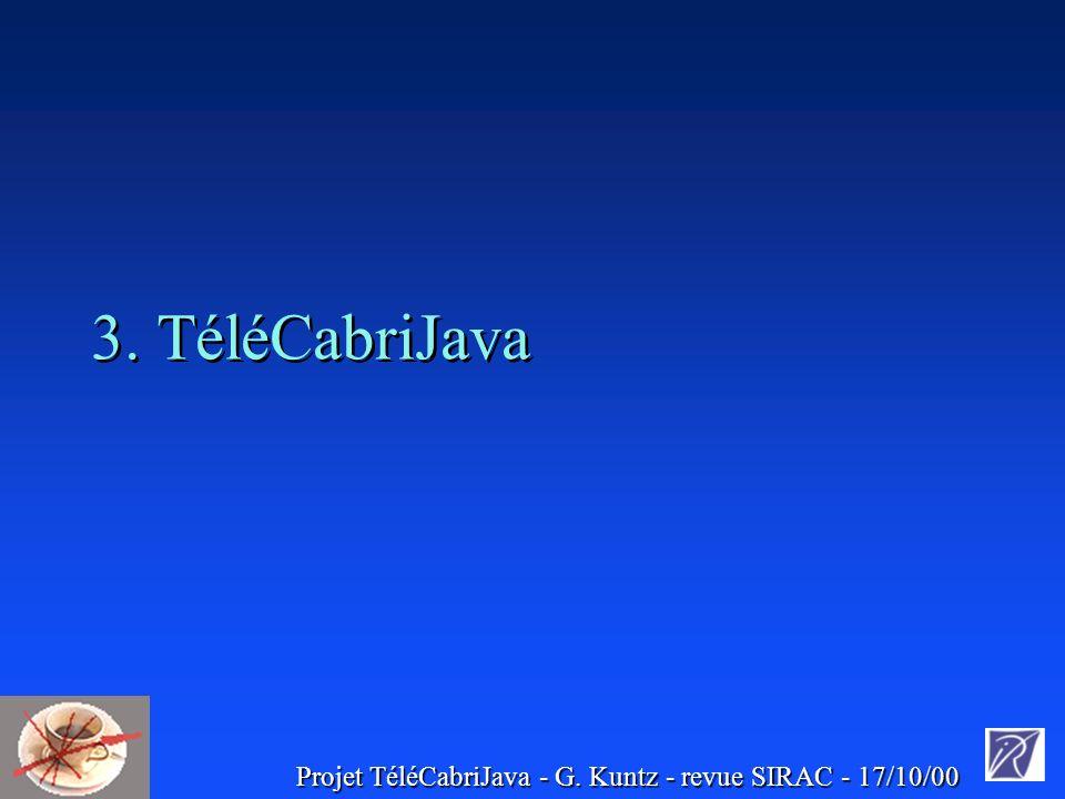 Projet TéléCabriJava - G. Kuntz - revue SIRAC - 17/10/00 3. TéléCabriJava