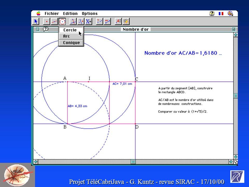 Projet TéléCabriJava - G. Kuntz - revue SIRAC - 17/10/00 TéléCabriJava :exemple d interface
