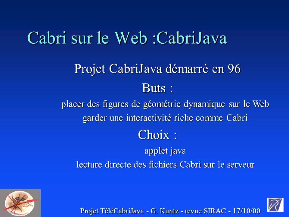 Projet TéléCabriJava - G. Kuntz - revue SIRAC - 17/10/00 3. Discussion