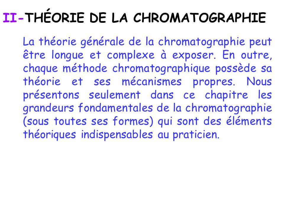 II-THÉORIE DE LA CHROMATOGRAPHIE La théorie générale de la chromatographie peut être longue et complexe à exposer. En outre, chaque méthode chromatogr