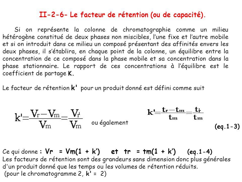 II-2-6- Le facteur de rétention (ou de capacité). Si on représente la colonne de chromatographie comme un milieu hétérogène constitué de deux phases n