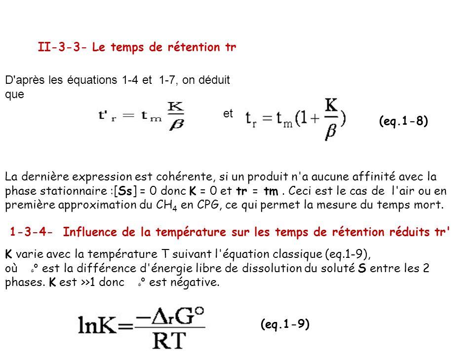 II-3-3- Le temps de rétention tr D'après les équations 1-4 et 1-7, on déduit que et (eq.1-8) La dernière expression est cohérente, si un produit n'a a