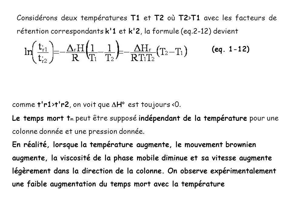 Considérons deux températures T1 et T2 où T2>T1 avec les facteurs de rétention correspondants k'1 et k'2, la formule (eq.2-12) devient (eq. 1-12) comm
