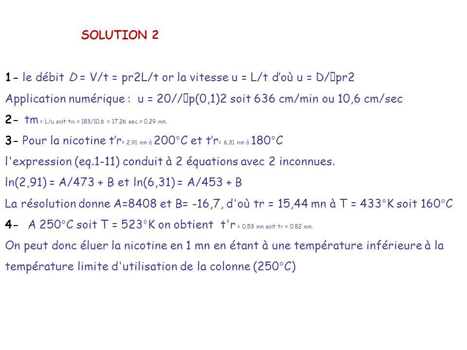 SOLUTION 2 1- le débit D = V/t = pr2L/t or la vitesse u = L/t doù u = D/ pr2 Application numérique : u = 20// p(0,1)2 soit 636 cm/min ou 10,6 cm/sec 2