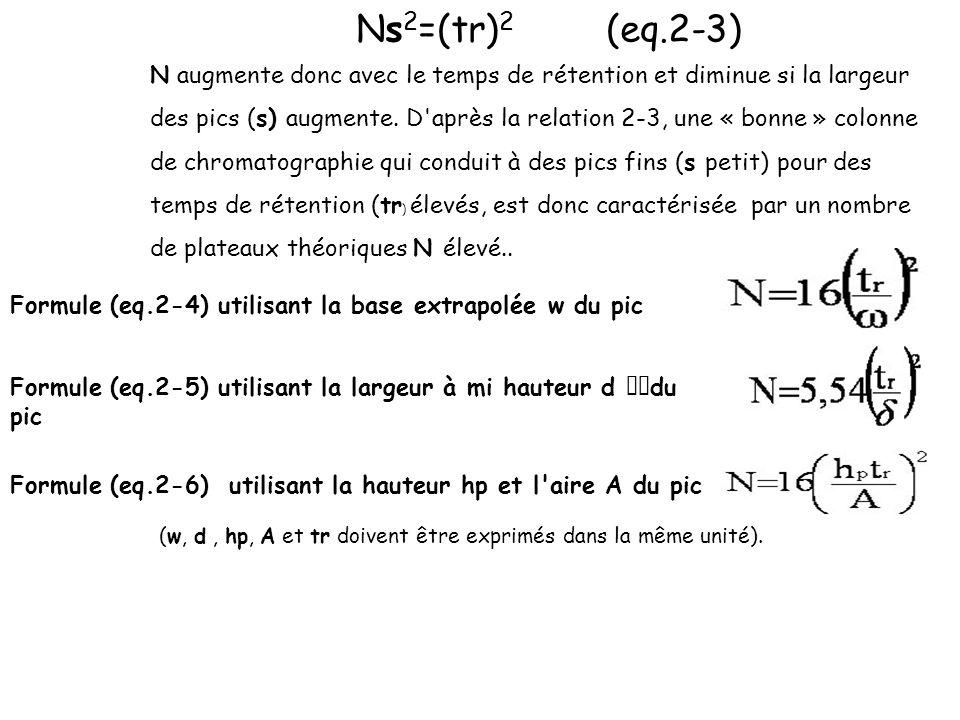 Ns 2 =(tr) 2 (eq.2-3) N augmente donc avec le temps de rétention et diminue si la largeur des pics (s) augmente. D'après la relation 2-3, une « bonne
