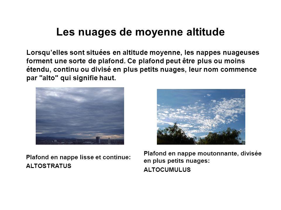 Les nuages de moyenne altitude Lorsquelles sont situées en altitude moyenne, les nappes nuageuses forment une sorte de plafond. Ce plafond peut être p