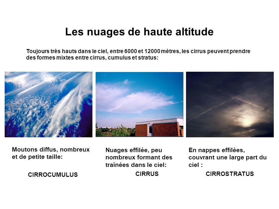 Les nuages de haute altitude Toujours très hauts dans le ciel, entre 6000 et 12000 mètres, les cirrus peuvent prendre des formes mixtes entre cirrus,