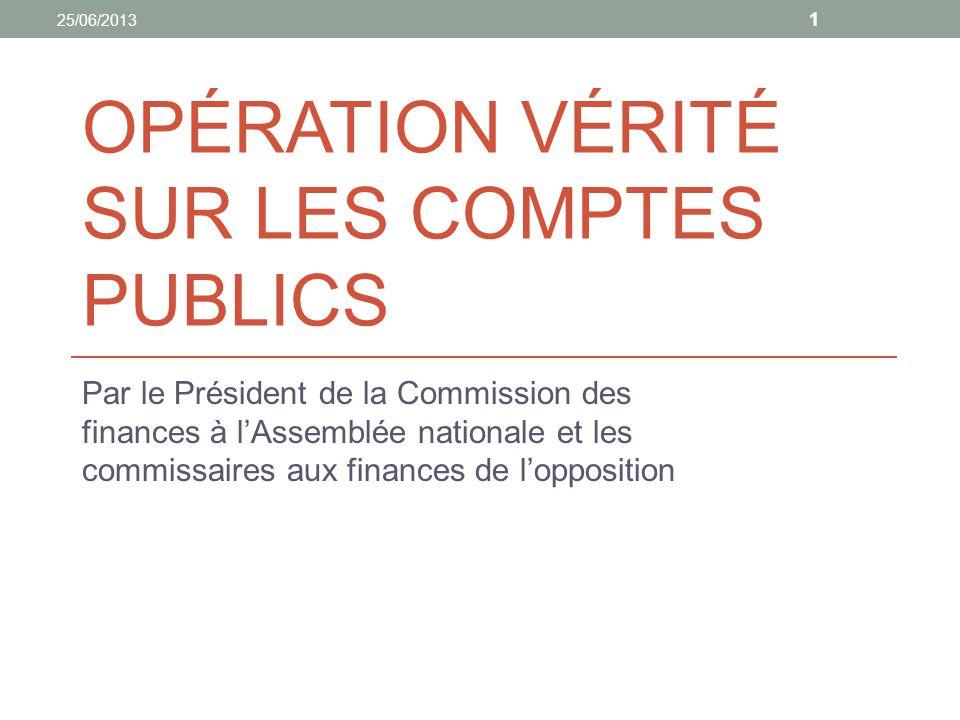 OPÉRATION VÉRITÉ SUR LES COMPTES PUBLICS Par le Président de la Commission des finances à lAssemblée nationale et les commissaires aux finances de lopposition 1 25/06/2013