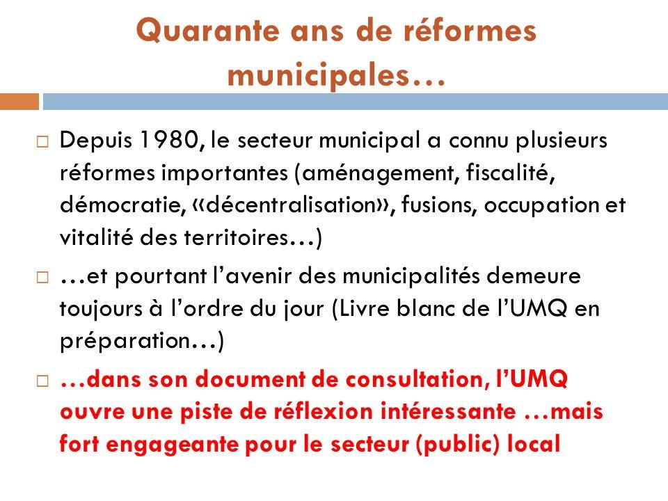 Quarante ans de réformes municipales… Depuis 1980, le secteur municipal a connu plusieurs réformes importantes (aménagement, fiscalité, démocratie, «d