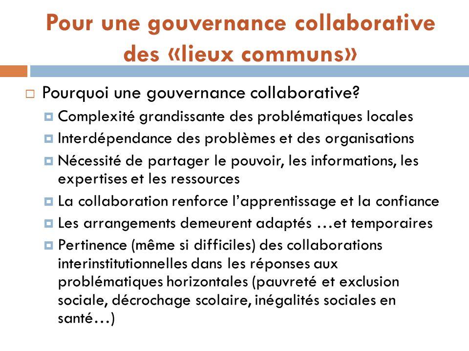 Pour une gouvernance collaborative des «lieux communs» Pourquoi une gouvernance collaborative? Complexité grandissante des problématiques locales Inte