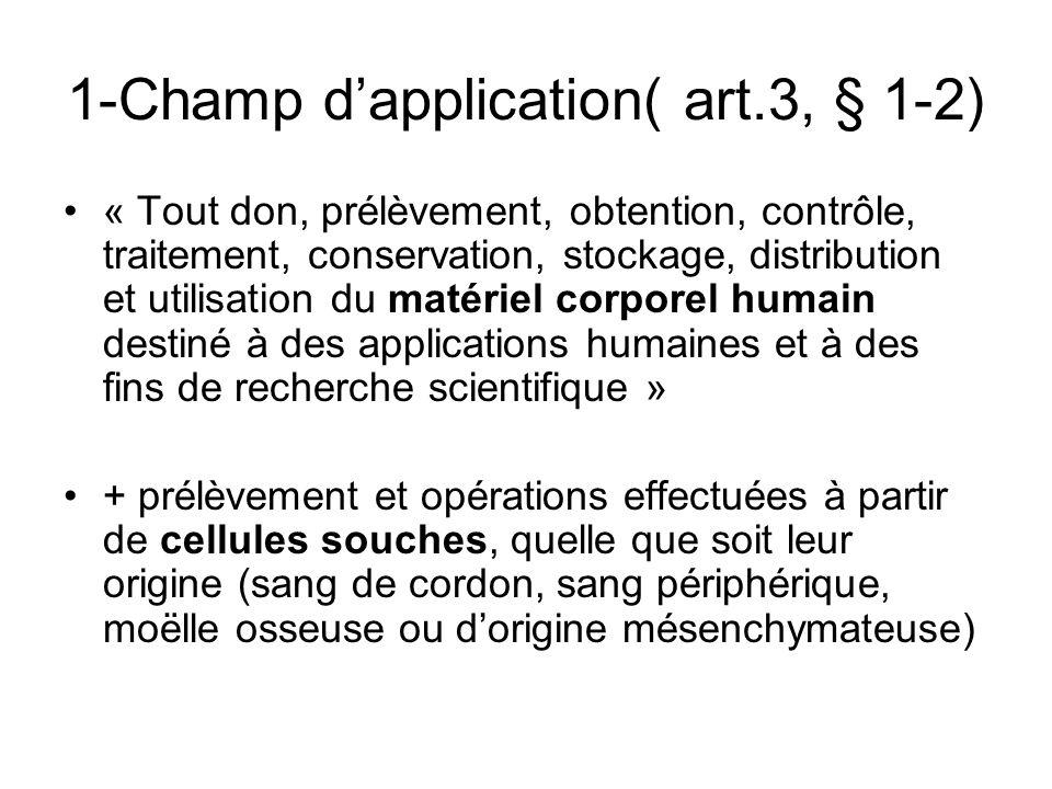 Exclusions du champ dapplication (art.3, § 3 - 4) - Prélèvement dorganes pour transplantation - Opérations avec sang, composants et dérivés -Prélèvement en vue dusage autologue ds 1 intervention -Don et opér.