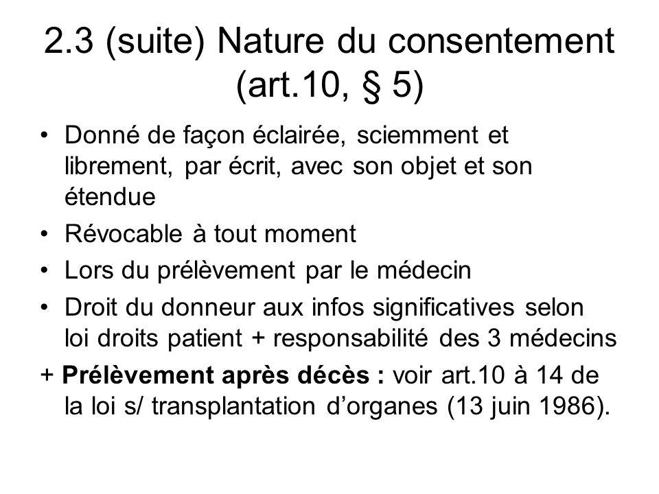 2.4–Structures (art.13-17) a)Médecin - hospitalier ou délégué par la banque de matériel.