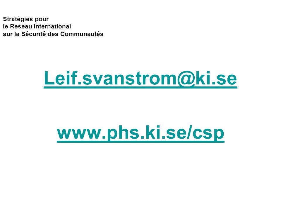 Stratégies pour le Réseau International sur la Sécurité des Communautés Leif.svanstrom@ki.se www.phs.ki.se/csp