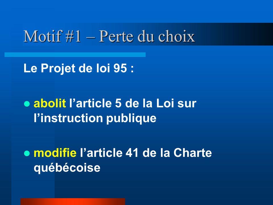 Motif #1 – Perte du choix Le Projet de loi 95 : abolit larticle 5 de la Loi sur linstruction publique modifie larticle 41 de la Charte québécoise