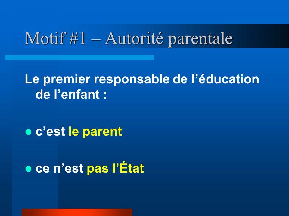 Motif #1 – Autorité parentale Le premier responsable de léducation de lenfant : cest le parent ce nest pas lÉtat