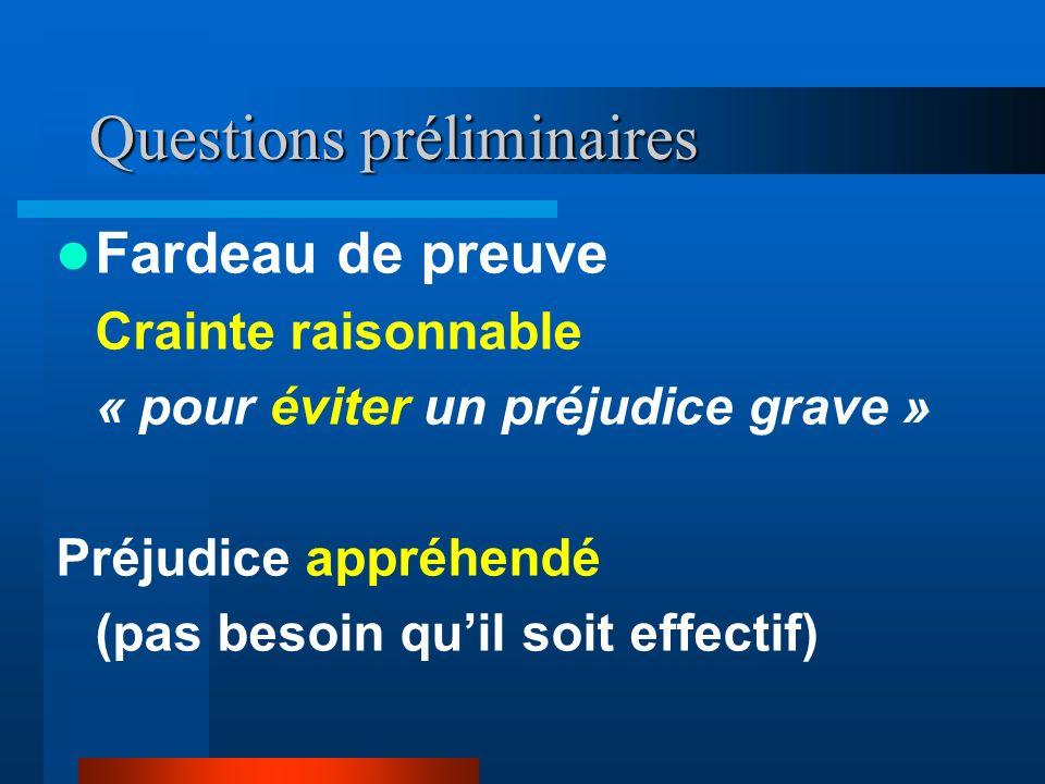 Questions préliminaires Fardeau de preuve Crainte raisonnable « pour éviter un préjudice grave » Préjudice appréhendé (pas besoin quil soit effectif)