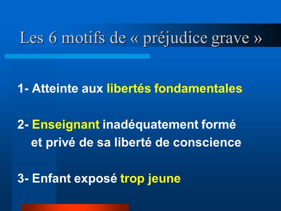 Les 6 motifs de « préjudice grave » 1- Atteinte aux libertés fondamentales 2- Enseignant inadéquatement formé et privé de sa liberté de conscience 3-