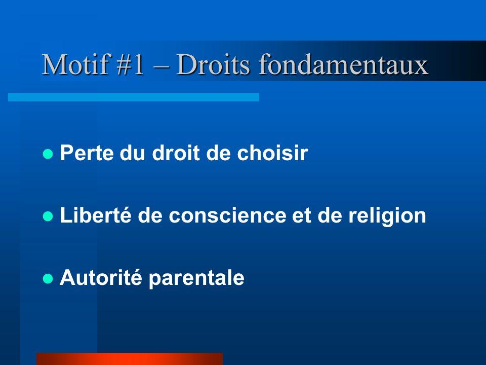 Motif #1 – Droits fondamentaux Perte du droit de choisir Liberté de conscience et de religion Autorité parentale