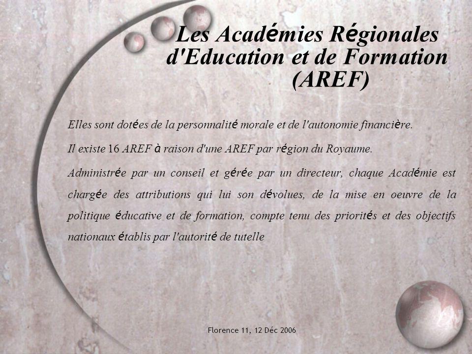 Florence 11, 12 Déc 2006 Les Acad é mies R é gionales d Education et de Formation (AREF) Elles sont dot é es de la personnalit é morale et de l autonomie financi è re.
