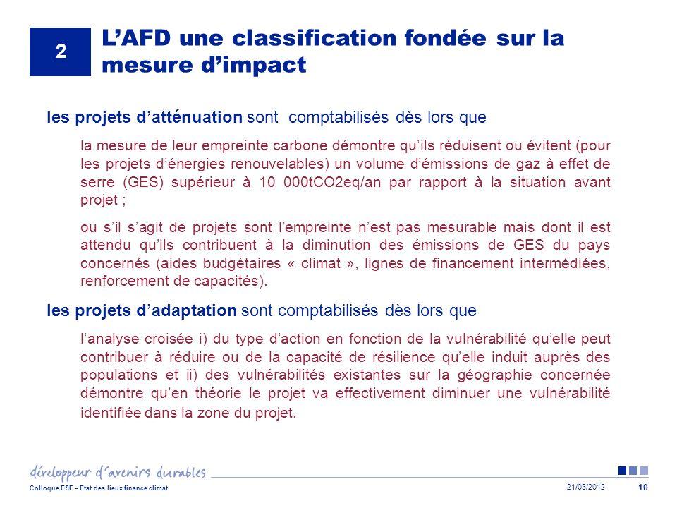 21/03/2012 Colloque ESF – Etat des lieux finance climat 10 LAFD une classification fondée sur la mesure dimpact 2 les projets datténuation sont compta