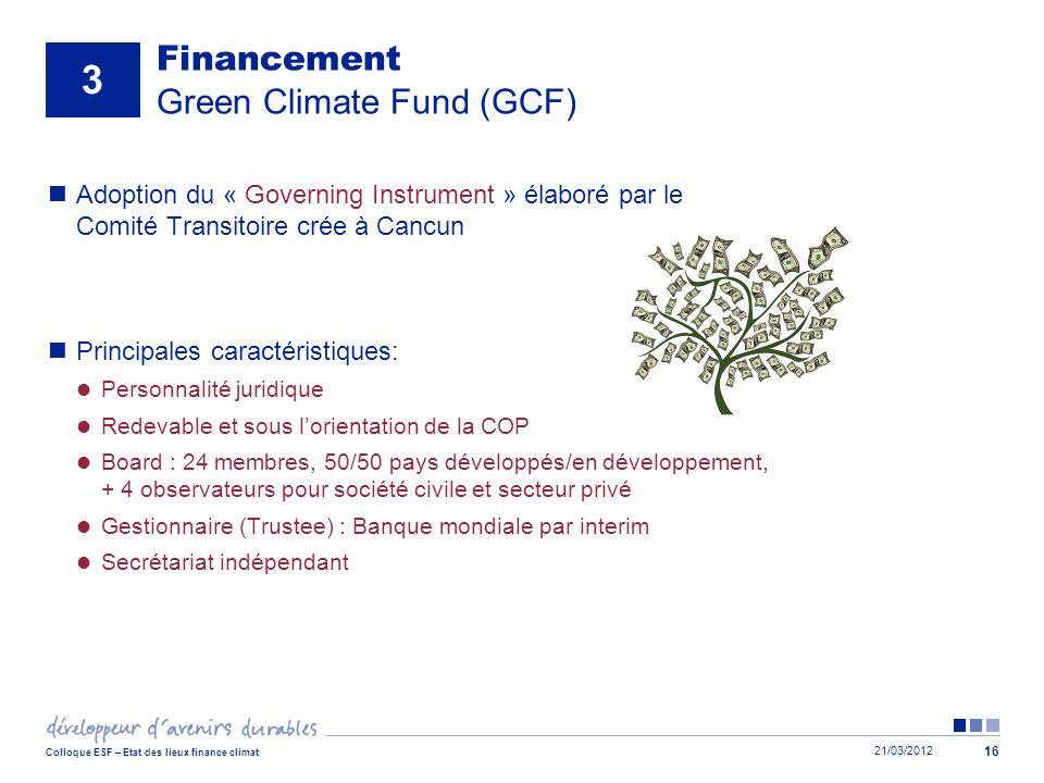 21/03/2012 Colloque ESF – Etat des lieux finance climat 16 Financement Green Climate Fund (GCF) Adoption du « Governing Instrument » élaboré par le Co