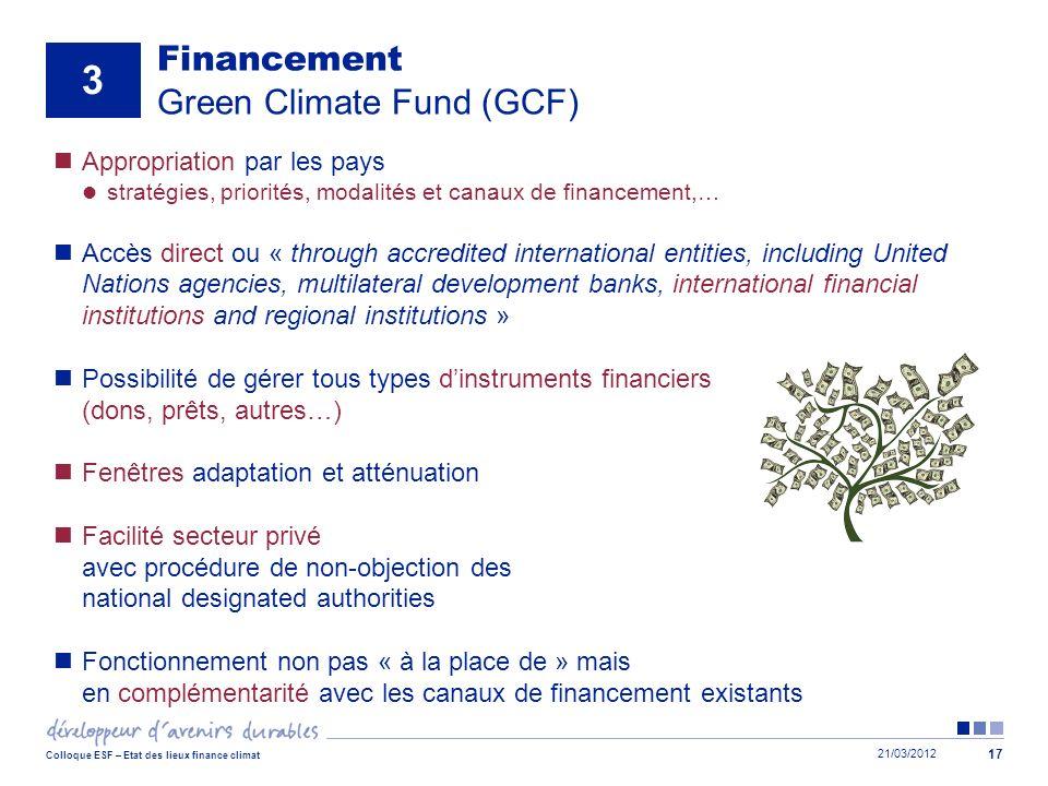 21/03/2012 Colloque ESF – Etat des lieux finance climat 17 Financement Green Climate Fund (GCF) Appropriation par les pays stratégies, priorités, moda