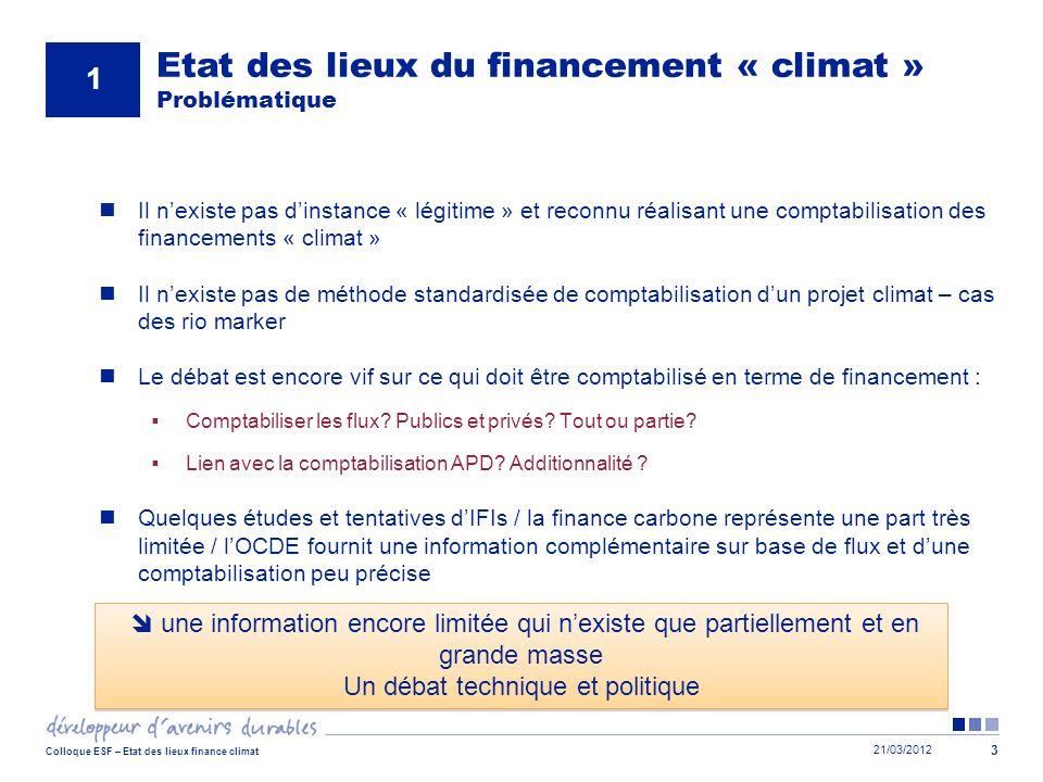 21/03/2012 Colloque ESF – Etat des lieux finance climat 3 Il nexiste pas dinstance « légitime » et reconnu réalisant une comptabilisation des financem