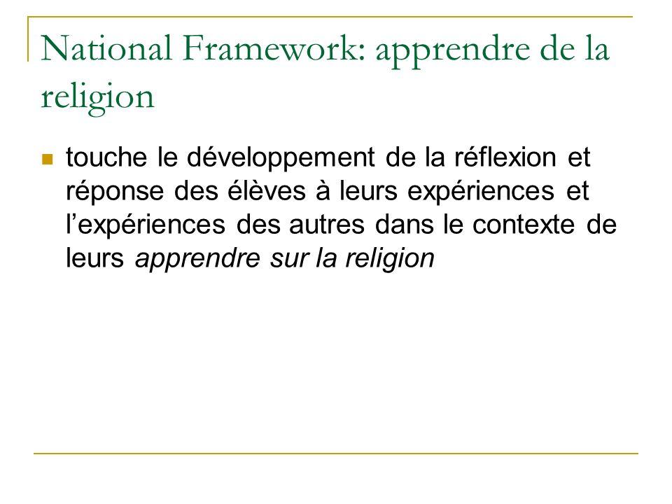 National Framework: apprendre de la religion touche le développement de la réflexion et réponse des élèves à leurs expériences et lexpériences des autres dans le contexte de leurs apprendre sur la religion