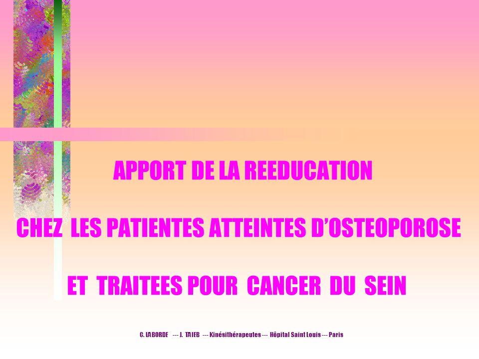 APPORT DE LA REEDUCATION CHEZ LES PATIENTES ATTEINTES DOSTEOPOROSE ET TRAITEES POUR CANCER DU SEIN C. LABORDE --- J. TAIEB --- Kinésithérapeutes --- H
