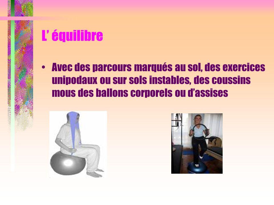L équilibre Avec des parcours marqués au sol, des exercices unipodaux ou sur sols instables, des coussins mous des ballons corporels ou dassises