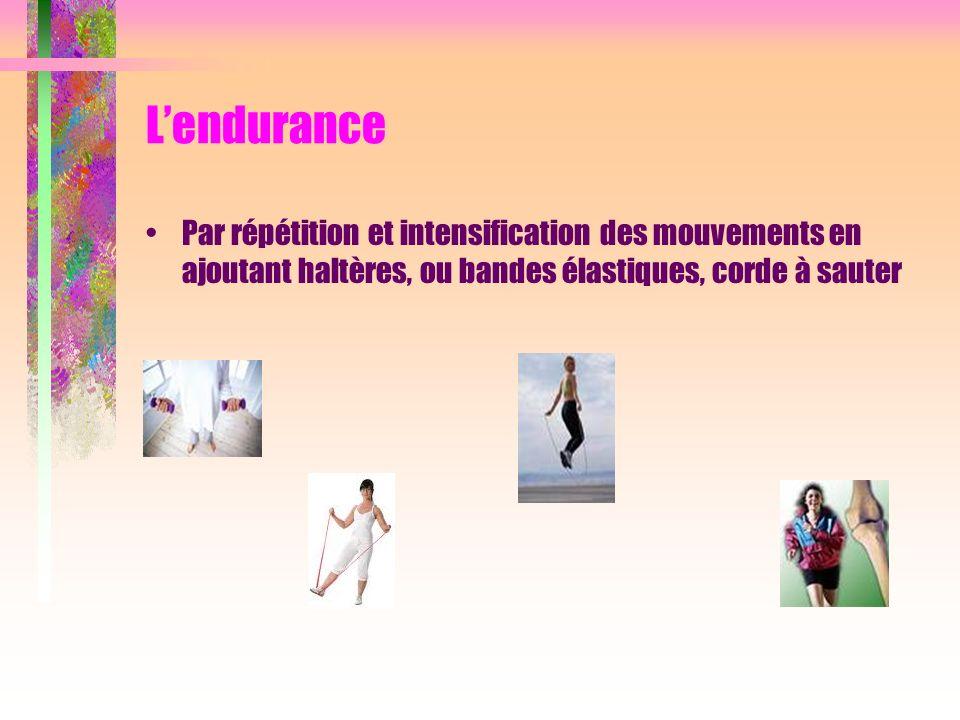 Lendurance Par répétition et intensification des mouvements en ajoutant haltères, ou bandes élastiques, corde à sauter