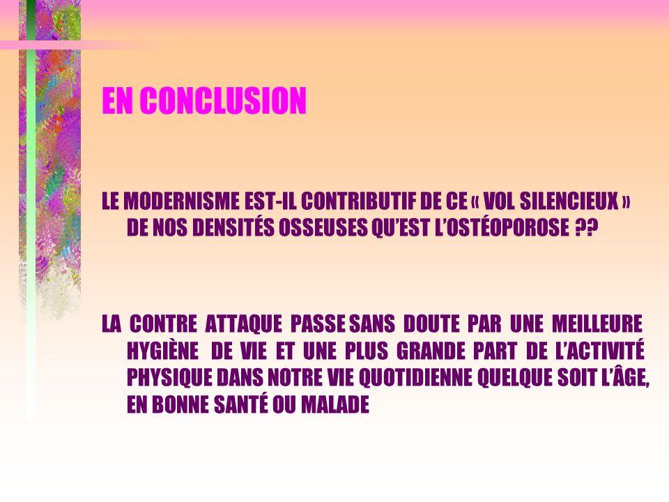 EN CONCLUSION LE MODERNISME EST-IL CONTRIBUTIF DE CE « VOL SILENCIEUX » DE NOS DENSITÉS OSSEUSES QUEST LOSTÉOPOROSE ?? LA CONTRE ATTAQUE PASSE SANS DO