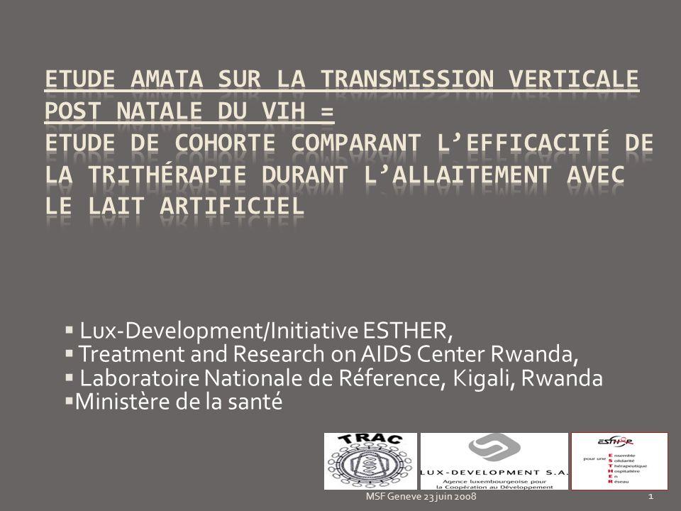 Caractéristiques médicales de la mère MSF Geneve 23 juin 2008 12