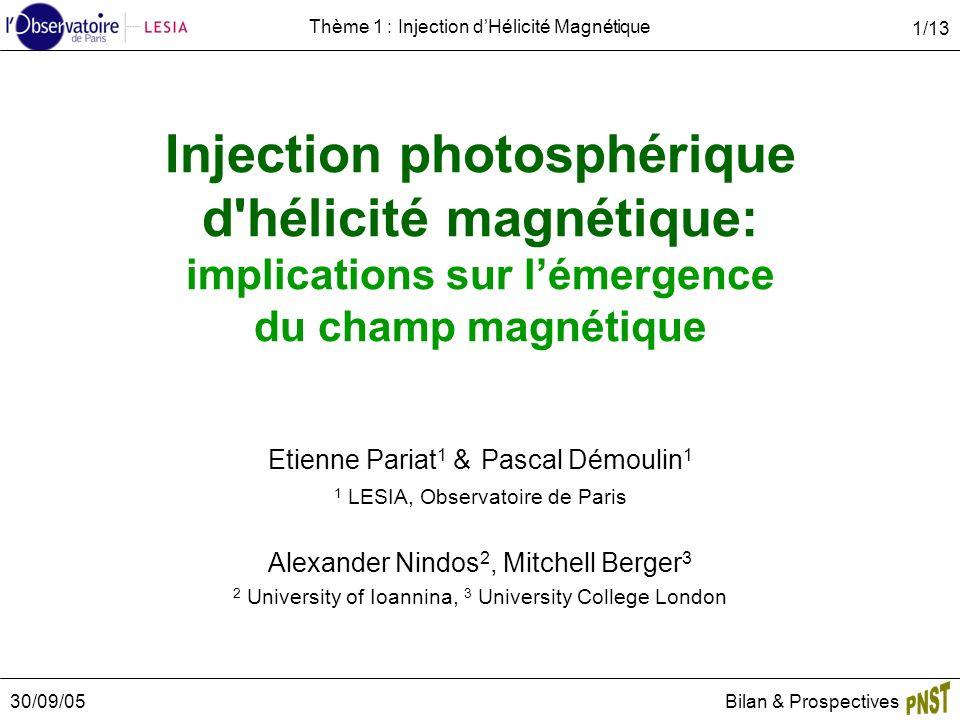 30/09/05Bilan & Prospectives 1/13 Thème 1 : Injection dHélicité Magnétique Injection photosphérique d'hélicité magnétique: implications sur lémergence